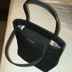 Kate Spade, black tote w/ colorful striped interio